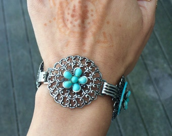 Vintage turquoise silver boho hippie bracelet