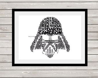 Darth Vader Print, Personalised Darth Vader, Darth Vader Word Art, Darth Vader Word Cloud, Darth Vader Word Collage, Star Wars Inspired Gift