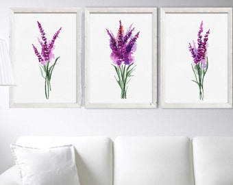 Lavender Watercolor Art Set of 3 Print Blue Flower Illustration Minimalist Botanical Drawing Herb Plant Wall Decor