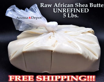 5 Lb. African Shea Butter Raw - Unrefined Ivory Or Yellow 100% Pure Natural FREE SHIPPING