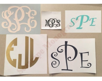 6 inch, 7 inch, 8 inch  Monogram Decal - Large/Big Monogram Decal - Personalized Vinyl Decal