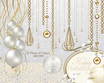 Pearl Christmas Clipart, Holiday Clipart, Ornament Graphics