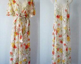Vintage Peignoir Set, Natori, 1980s Natori Peignoir Set, Floral Peignoir Set, White Floral Peignoir Set, Vintage Peignoir