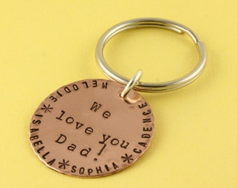 Dad Keychain - Gift for Dad - Personalized Keychain - Custom Keychain - Dad Gift - Keychain for Dad - Men's Keyring - Copper Keychain