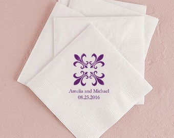 Fleur de Lis Wedding Napkins Personalized (Pack of 100)