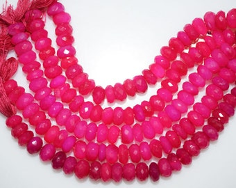 Natural Hot Pink Chalcedony Faceted Rondelle Beads 5 Inch Strand ,Hot Pink Chalcedony Rondelle Beads , 7.50-8 mm - MC273