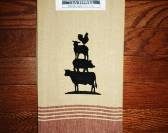 farm stack towel ~ animal farm stack ~ pig decor ~ cattle decor ~ lamb decor ~ chicken decor ~ farm kitchen towel