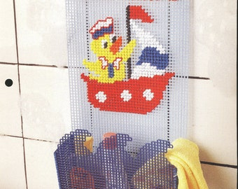 Shipshape Bath Caddy Plastic Canvas Pattern Duck in a Boat Plastic Canvas Collector's Series The Needlecraft Shop