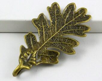 10Pcs Antique Brass tree leaf Charm tree leaf Pendant 48x24mm (PND479)