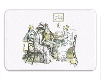 Pride & Prejudice Bath Mat, Jane Austen Gifts,  Period Drama Decor, Book Home Decor, Memory Foam Bath Mat, White Bathroom Rug Printed in USA