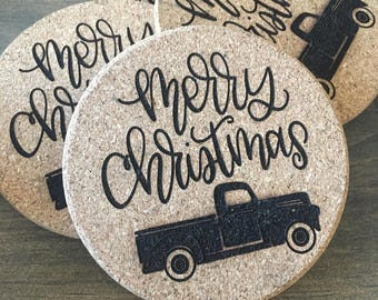 Merry Christmas with Red Truck Coasters, Set of 4 Coasters, Cork Coasters, Cork Coaster, Drink Coasters, Custom Coasters, Gift Ideas, Farm C