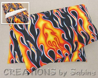 Heating Pack Corn Pillow washable cover Microwaveable Therapy Bag Ice Pack Red Orange Hot Flames Rocker Biker Motorcycle READY TO SHIP (509)