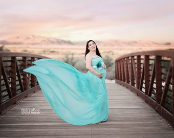 Vivian maternity dress, aqua  maternity Gown,  Sheer maternity gown , chiffon maternity dress,baby shower dress, maternity photo props