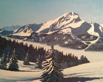 Oil painting. Winter in mountains.