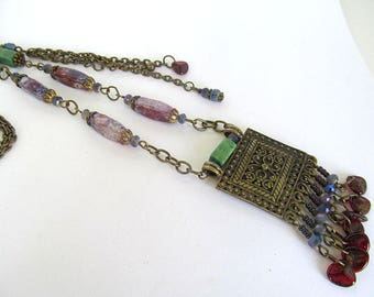 Bohemian Beaded Necklace, Vintage Bead Necklace, Tassle Pendant, Boho Chic, Artisan Necklace, Antiqued Brass Necklace, Moonlilydesigns
