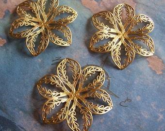 1 PC Raw Brass Dapped Filigree Flower - ZNE  K0227