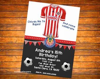 Chivas de Guadalajara Personalized Invitation - Digital or Printed w Envelopes (English or Spanish)