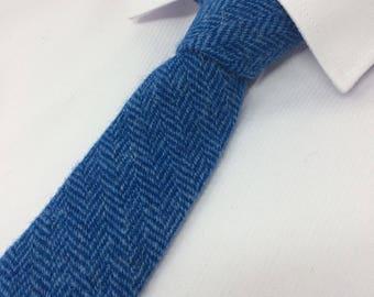 Teal and sky blue herringbone Harris Tweed tie with gift box