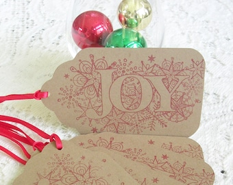 Christmas Gift Tags - Large Christmas Tags - Handstamped Joy Red Kraft Tags - Set of 6 Double Layer Holiday Tags -  Rustic Christmas Tags