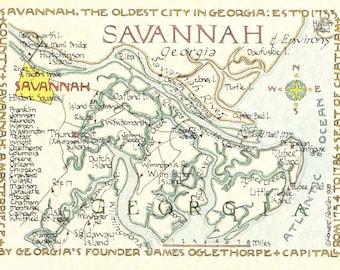 Savannah, Georgia Area in Two Sizes