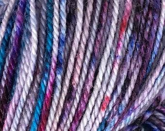 Ready to ship, 100g, ice dyed yarn, hand dyed yarn, purple rainbow speckles yarn, sock/fingering weight yarn, superwash merino:nylon yarn