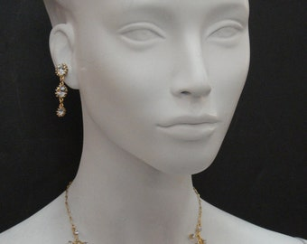 Gold Plated Flower and Branch Crystal Necklace