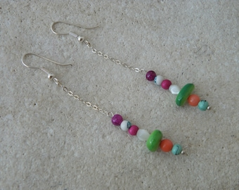 Chain and 4 pearls earrings