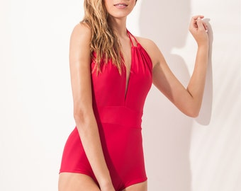 Red one piece swimsuit (2 ways to use it)