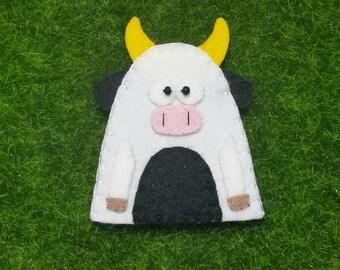 Wool Felt Cow Finger Puppet