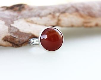 Carnelian Ring, Carnelian Gemstone Ring, Orange Brown Stone Ring, Silver round Stone Ring, Gemstone Ring, Unisex ring, Men jewelry,
