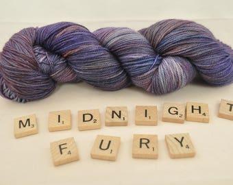 "Hand-dyed yarn, ""Midnight Fury"" variegated, soft and squishy yarn. Great for socks or shawls. 80/20 Superwash wool/Nylon"