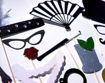 Great Gatsby Photo Booth Props - 22 piece set - Birthdays, Weddings, Parties - GLITTER Photobooth Props