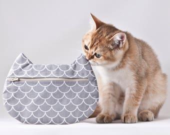 Mermaid Cosmetic Bag, Cat Mermaid Makeup Bag, Gifts for Travelers, Pencil Case, Cat Lover Gift, Zipper Bag, Gray Toiletries Bag, Pills Case