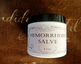 Hemorrhoid Pain Relief Herbal Salve 4 oz., Organic Hemorrhoid Salve, Natural Salve, Hemorrhoid Ointment, Hemorrhoid Balm