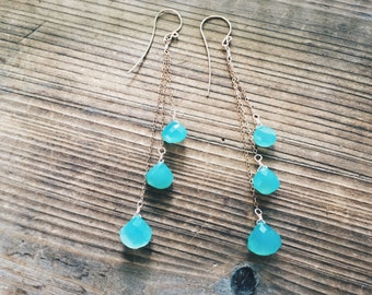 Chrysoprase Earrings // Gold and Blue // Shoulder Duster // Wire Wrapped // Hand Forged French Hooks // Calming Stone // Rose Gold