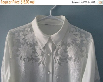 ON SALE 1980's White Blouse with cut out floral, swirl pattern / Elegant button up blouse with sheer cutouts / Size medium to large