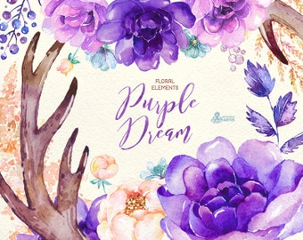 Purple Dream. Watercolor floral Elements, peony, arrows, antlers, bouquets, wedding, flowers, invite, violet, card, diy clip art, boho