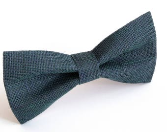 Green purple black  linen bow tie, wedding necktie, linen necktie,  groomsmen necktie,  necktie, bow tie for men