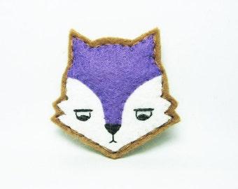 Annoyed purple urban fox felt brooch - tiny size
