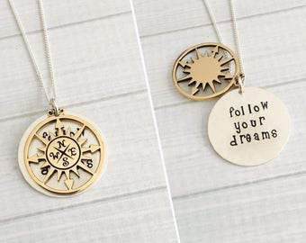 Graduation Jewelry, Follow Your Dreams Necklace, Graduation Gift, Inspirational Gift, Hidden Message Necklace, Class of 2018 Gift