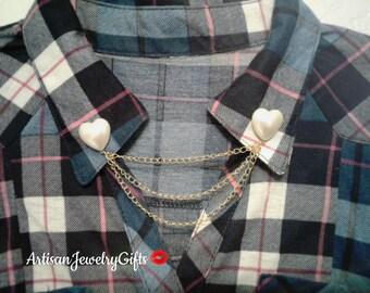 Pearl Heart Collar Pins Pearl Heart Sweater Clips Collar Chain Hipster Collar Pins Sweater Pins Collared Shirt Pins Brooch Heart Lapel Pins