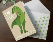 Funny Printable Dinosaur I love you this much big head little arms T-rex Tyrannosaurus Rex Dino INSTANT DOWNLOAD printable greeting card