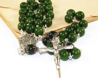 "Man's Large Catholic Green Jade Rosary, 3 Decades, Pewter ""Nails"" Cross"