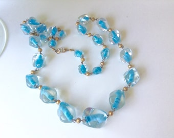 Art Deco Czech Glass bead long necklace