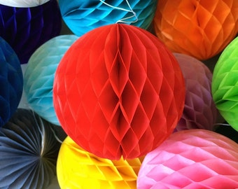 Red 2 inch Honeycomb Tissue Paper Balls - Paper Party Decor Decoration Supplies