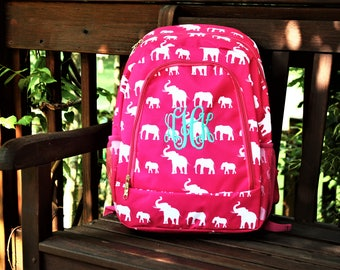 Elephant Monogram Backpack, Personalized Backpack, Monogram Bookbag, Girls Backpack, Pink Backpack, Kids Backpack, School Backpack