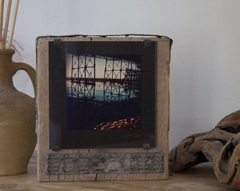 Industrial home chic - wood photo frame - unique photo gift - reclaimed wood - pier photo - instagram photo frame  - wood wall art - ooak