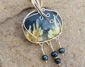 S-128 Plume Agate Cultured Pearl Gold Silver Pendant Necklace, Plume Agate Pendant, Agate Jewelry, Plume Agate Necklace