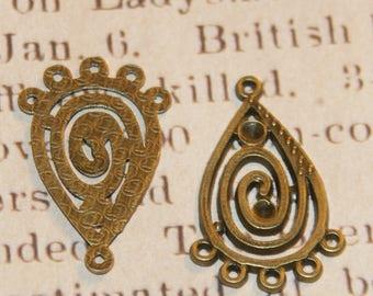 2 connectors drop and spiral bronze 30x19mm