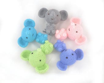 Jouet de bébé éléphant, animal de la jungle mini Amigurumi, crochet doudou doux.